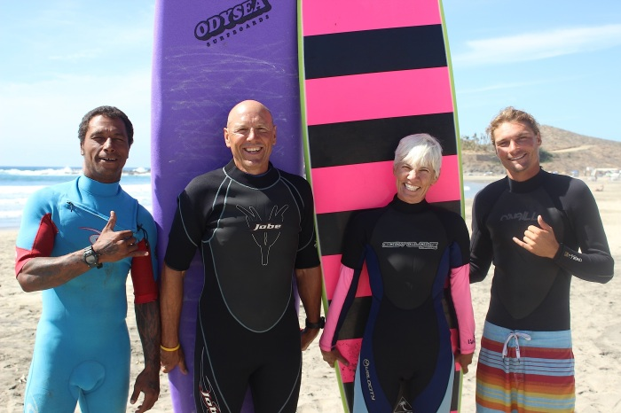John and I with our surfing instructors, Rudy and Scott